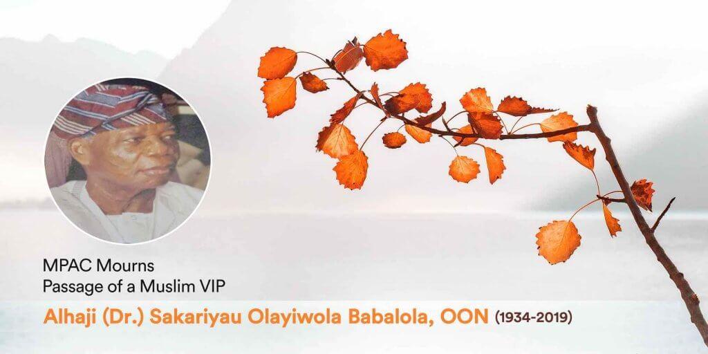 MPAC Mourns-Alhaji (Dr.) Sakariyau O. Babalola